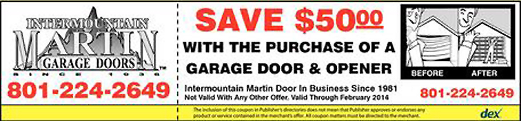 Save $50.00 with the purchase of a garage door and opener